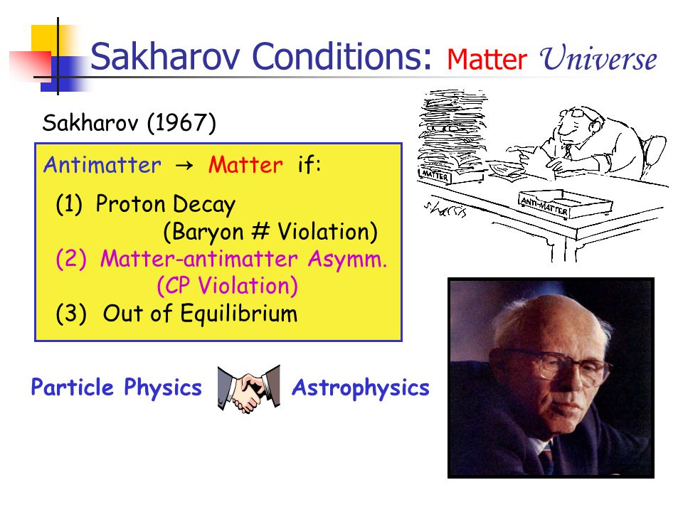 Sakharov Conditions: Matter Universe Antimatter → Matter if: (1) Proton Decay (Baryon # Violation) (2) Matter-antimatter Asymm. (CP Violation) (3) Out
