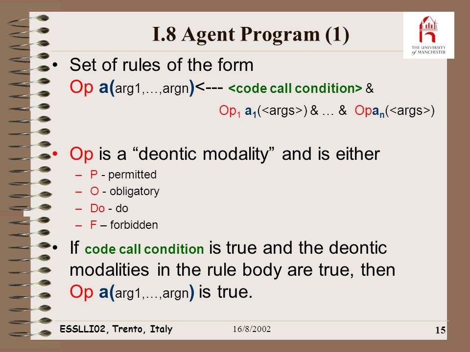 ESSLLI02, Trento, Italy16/8/2002 15 I.8 Agent Program (1) Set of rules of the form Op a( arg1,…,argn ) & Op 1 a 1 ( ) & … & Opa n ( ) Op is a deontic modality and is either –P - permitted –O - obligatory –Do - do –F – forbidden If code call condition is true and the deontic modalities in the rule body are true, then Op a( arg1,…,argn ) is true.
