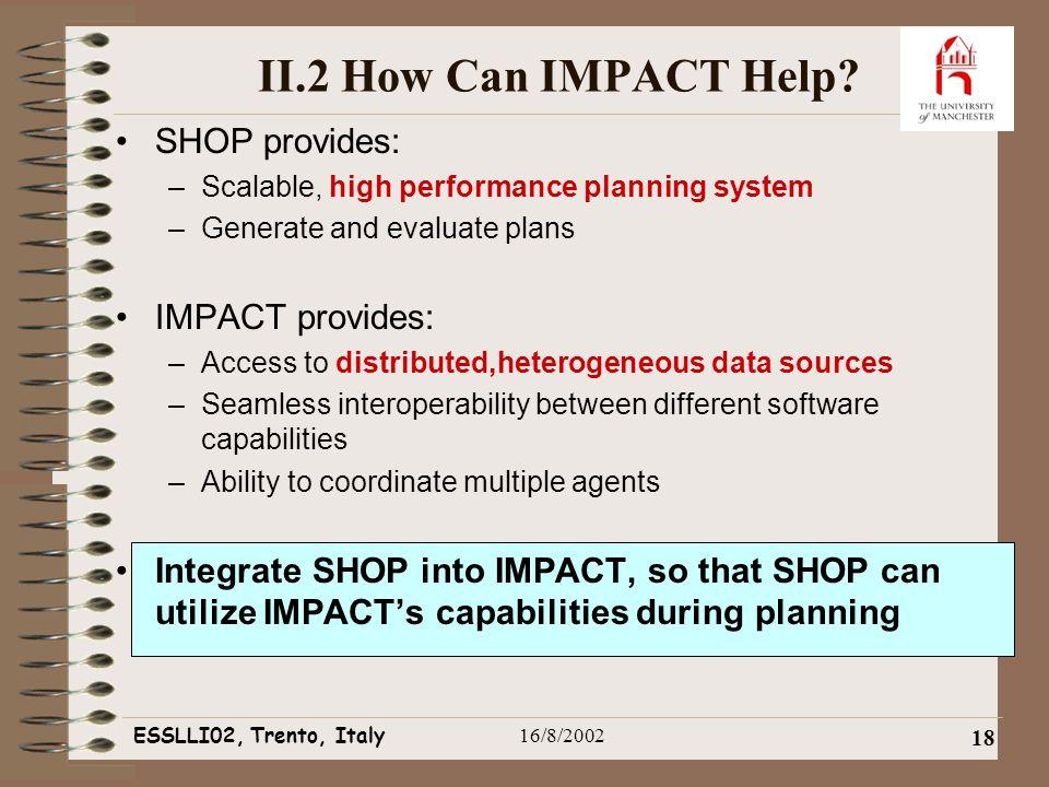 ESSLLI02, Trento, Italy16/8/2002 18 II.2 How Can IMPACT Help.