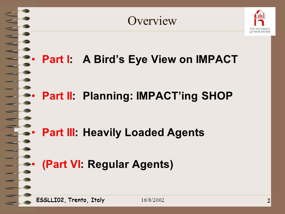 ESSLLI02, Trento, Italy16/8/2002 2 Overview Part I: A Bird's Eye View on IMPACT Part II: Planning: IMPACT'ing SHOP Part III: Heavily Loaded Agents (Part VI: Regular Agents)