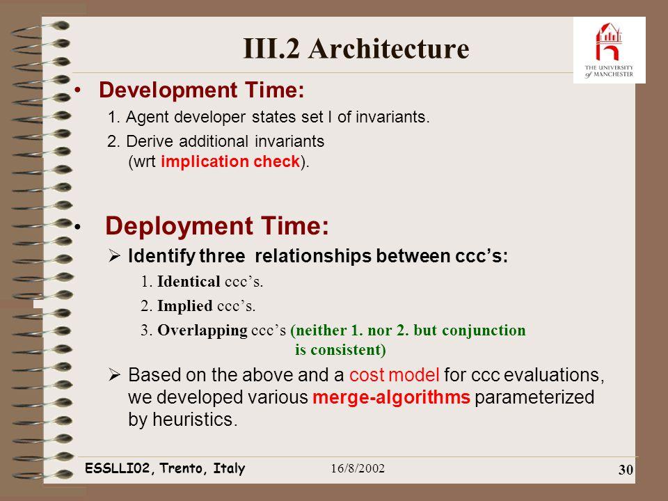 ESSLLI02, Trento, Italy16/8/2002 30 III.2 Architecture Development Time: 1.