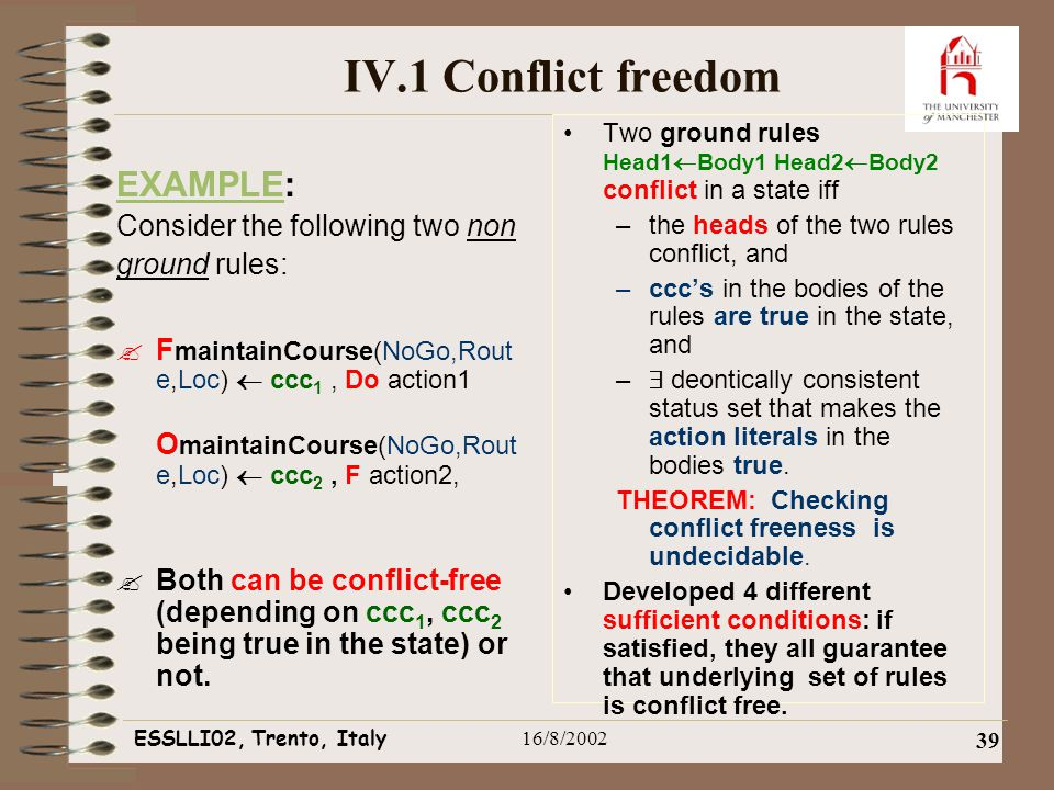 ESSLLI02, Trento, Italy16/8/2002 39 IV.1 Conflict freedom EXAMPLE: Consider the following two non ground rules:  F maintainCourse(NoGo,Rout e,Loc)  ccc 1, Do action1 O maintainCourse(NoGo,Rout e,Loc)  ccc 2, F action2,  Both can be conflict-free (depending on ccc 1, ccc 2 being true in the state) or not.