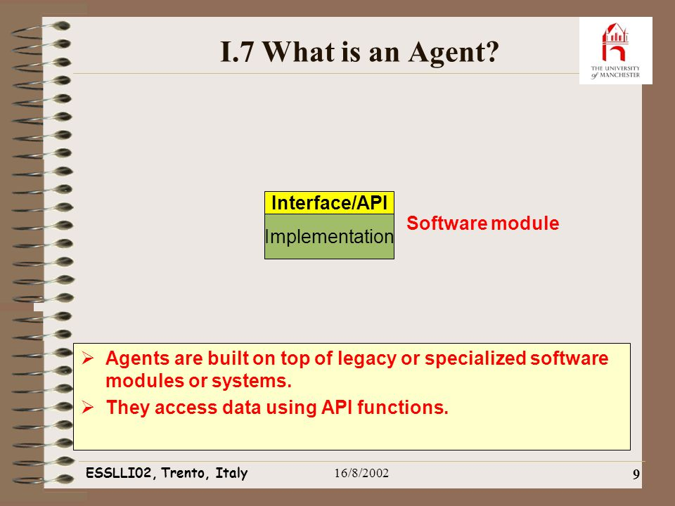 ESSLLI02, Trento, Italy16/8/2002 9 I.7 What is an Agent.
