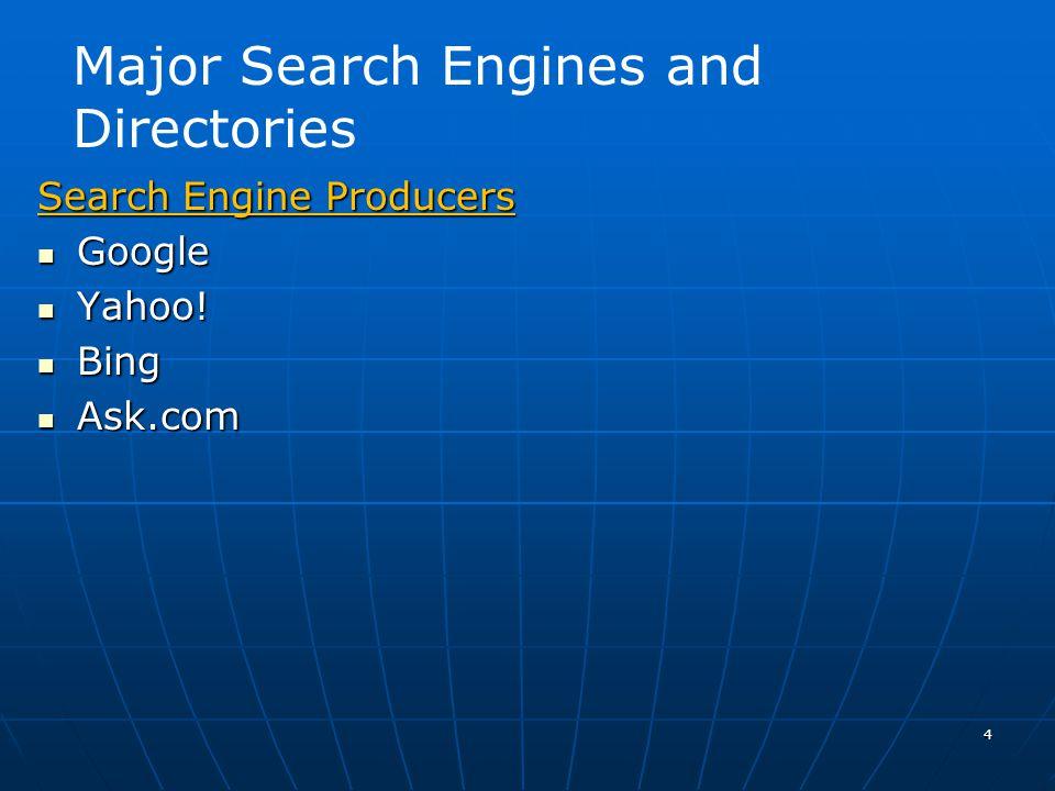 4 Search Engine Producers Google Google Yahoo. Yahoo.