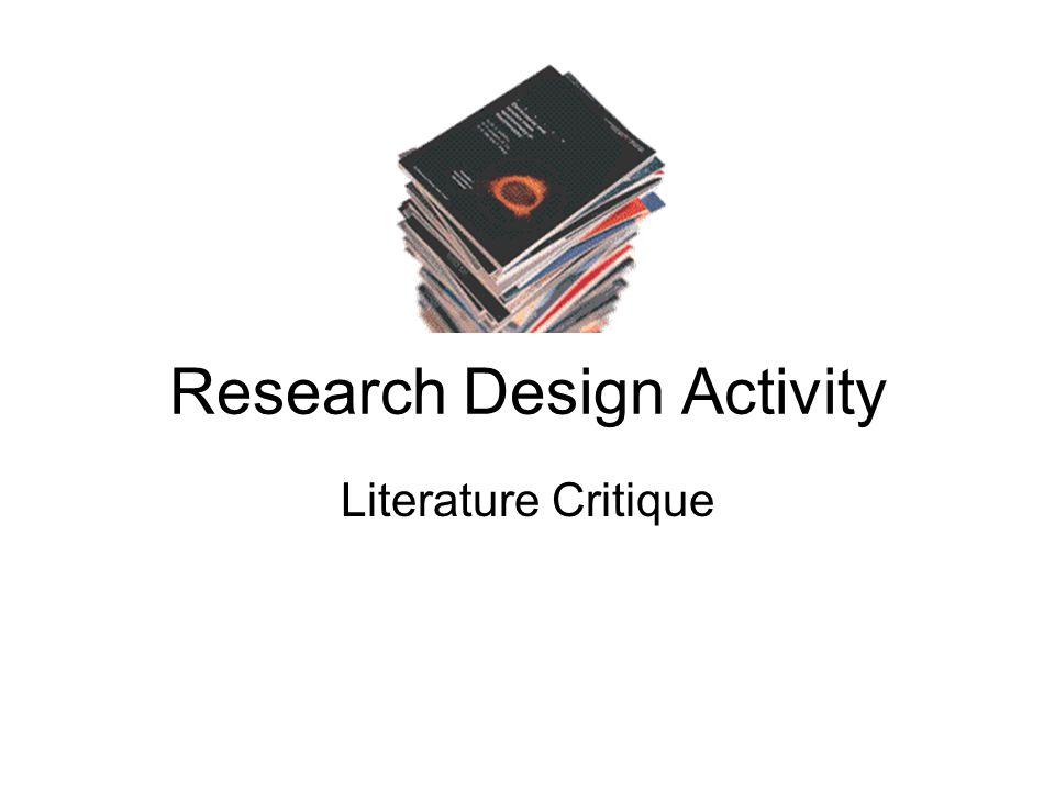 Research Design Activity Literature Critique