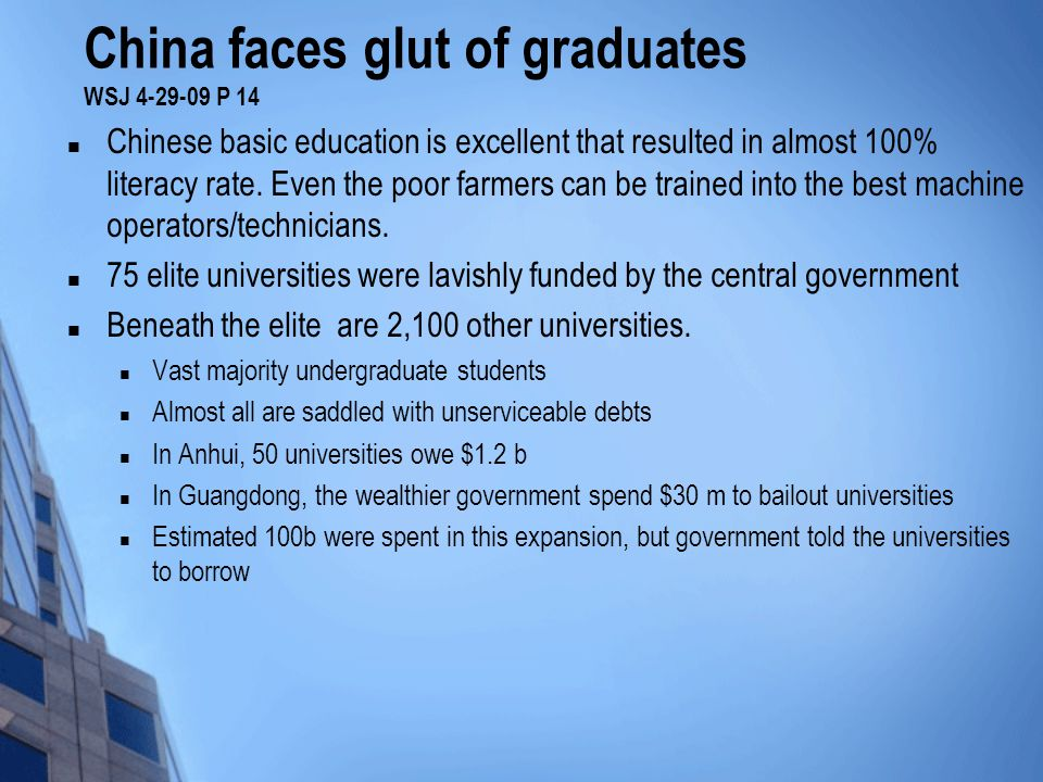 China faces glut of graduates WSJ 4-29-09 P 14 Chinese basic education is excellent that resulted in almost 100% literacy rate.