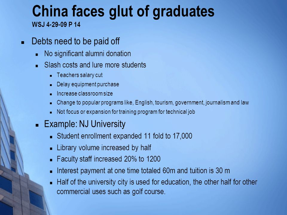 China faces glut of graduates WSJ 4-29-09 P 14 Debts need to be paid off No significant alumni donation Slash costs and lure more students Teachers salary cut Delay equipment purchase Increase classroom size Change to popular programs like, English, tourism, government, journalism and law Not focus or expansion for training program for technical job Example: NJ University Student enrollment expanded 11 fold to 17,000 Library volume increased by half Faculty staff increased 20% to 1200 Interest payment at one time totaled 60m and tuition is 30 m Half of the university city is used for education, the other half for other commercial uses such as golf course.