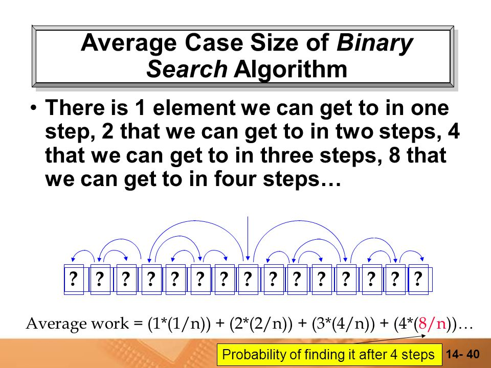 14- 39 Average Case Size of Binary Search Algorithm There is 1 element we can get to in one step, 2 that we can get to in two steps, 4 that we can get to in three steps… .