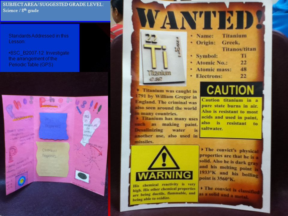 Standards Addressed in this Lesson: 8SC_B2007-12: Investigate the arrangement of the Periodic Table (GPS) Standards Addressed in this Lesson: 8SC_B200