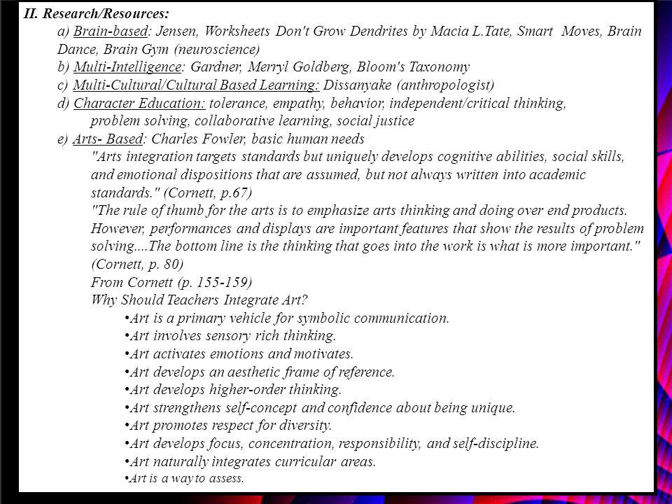 II. Research/Resources: a) Brain-based: Jensen, Worksheets Don't Grow Dendrites by Macia L.Tate, Smart Moves, Brain Dance, Brain Gym (neuroscience) b)