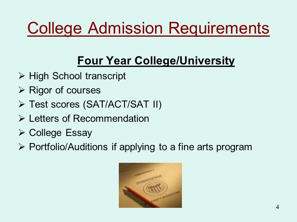 4 College Admission Requirements Four Year College/University  High School transcript  Rigor of courses  Test scores (SAT/ACT/SAT II)  Letters of Recommendation  College Essay  Portfolio/Auditions if applying to a fine arts program