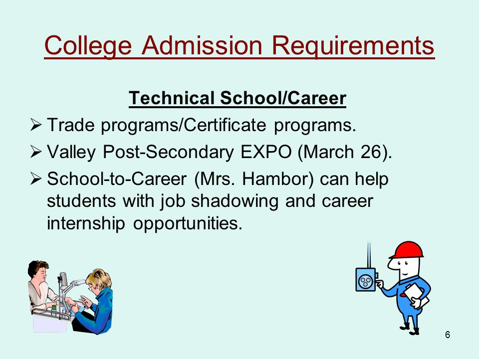 6 College Admission Requirements Technical School/Career  Trade programs/Certificate programs.