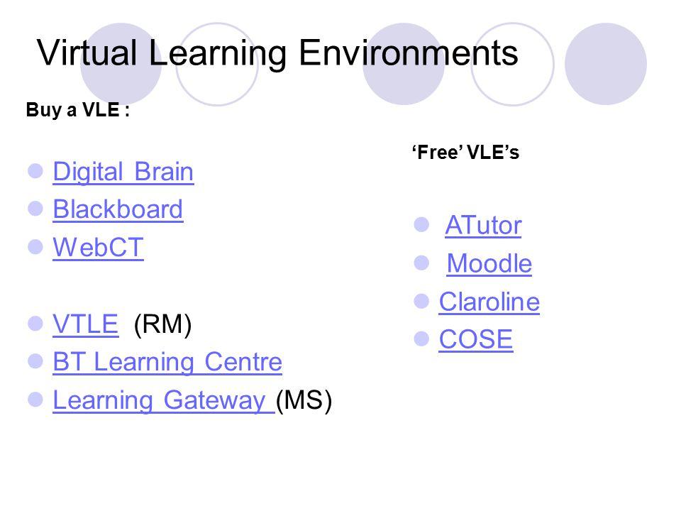 Virtual Learning Environments Buy a VLE : Digital Brain Blackboard WebCT VTLE (RM)VTLE BT Learning Centre Learning Gateway (MS)Learning Gateway 'Free' VLE's ATutor Moodle Claroline COSE