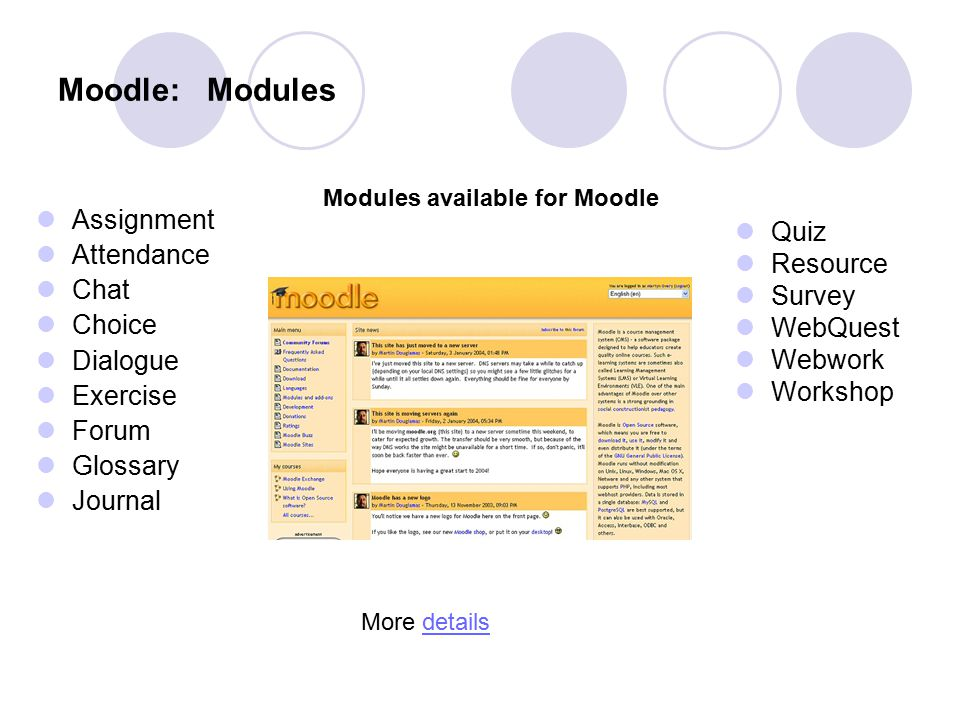 Moodle: Modules Assignment Attendance Chat Choice Dialogue Exercise Forum Glossary Journal Quiz Resource Survey WebQuest Webwork Workshop Modules avai