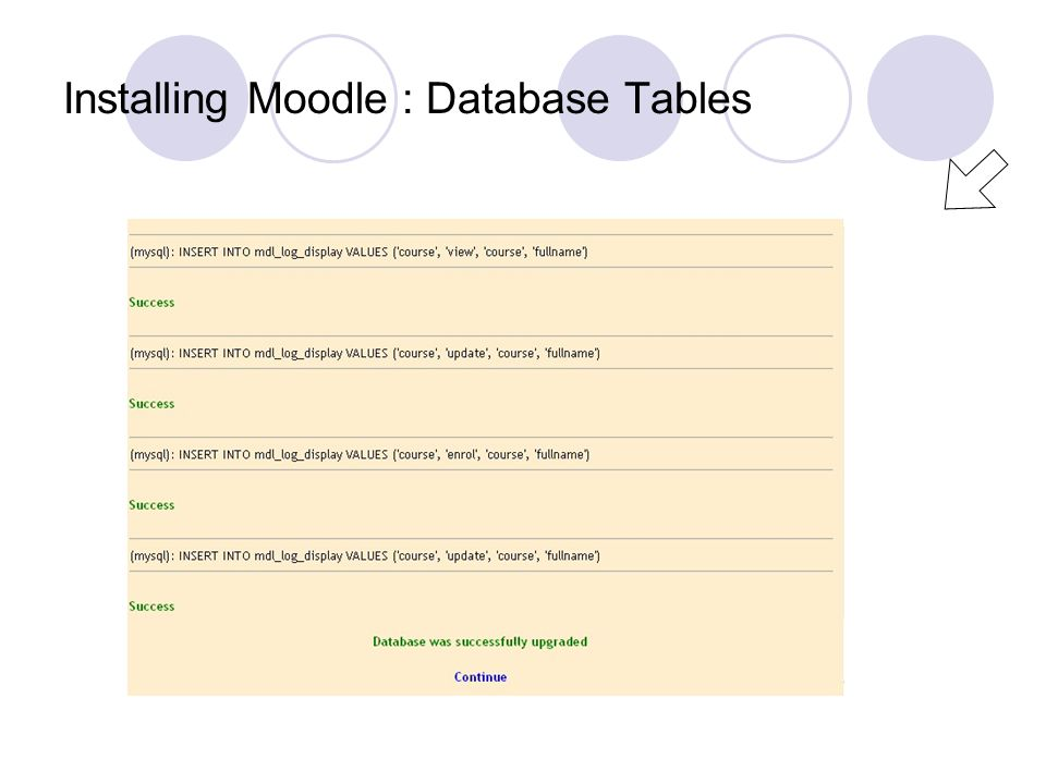 Installing Moodle : Database Tables