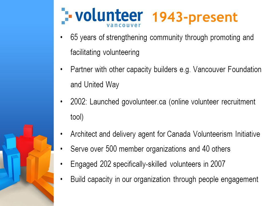 1943-present 65 years of strengthening community through promoting and facilitating volunteering Partner with other capacity builders e.g. Vancouver F
