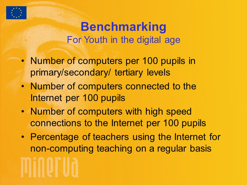 Benchmarking For Youth in the digital age Number of computers per 100 pupils in primary/secondary/ tertiary levels Number of computers connected to the Internet per 100 pupils Number of computers with high speed connections to the Internet per 100 pupils Percentage of teachers using the Internet for non-computing teaching on a regular basis