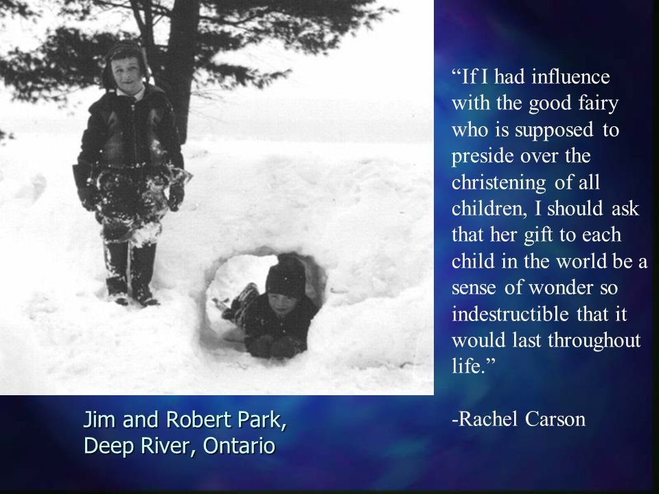 If I had influence with the good fairy who is supposed to preside over the christening of all children, I should ask that her gift to each child in the world be a sense of wonder so indestructible that it would last throughout life. -Rachel Carson Jim and Robert Park, Deep River, Ontario