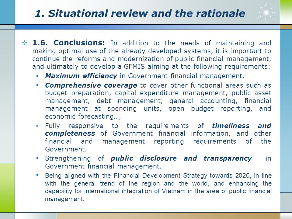  1.6. Conclusions: In addition to the needs of maintaining and making optimal use of the already developed systems, it is important to continue the r