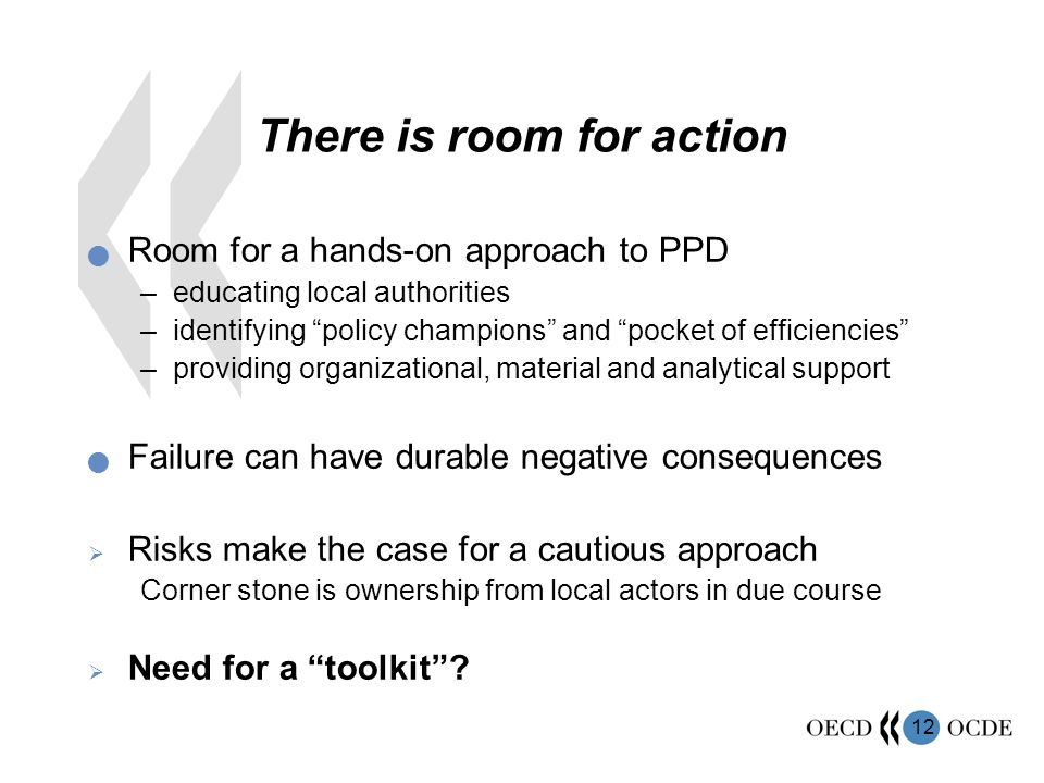 """12 There is room for action Room for a hands-on approach to PPD –educating local authorities –identifying """"policy champions"""" and """"pocket of efficienci"""