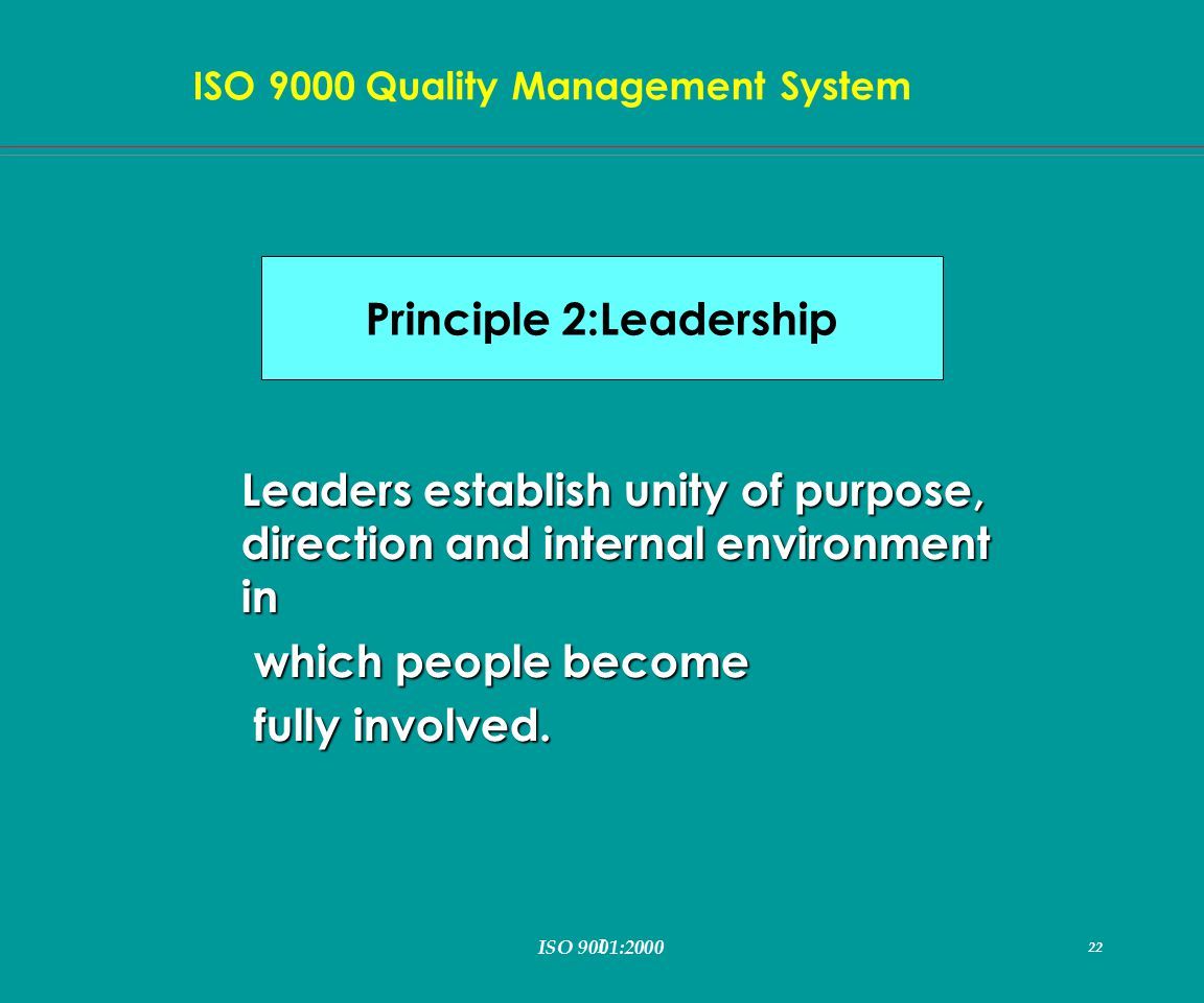 I 22 ISO 9000 Quality Management System ISO 9001:2000 22 Leaders establish unity of purpose, direction and internal environment in which people become which people become fully involved.