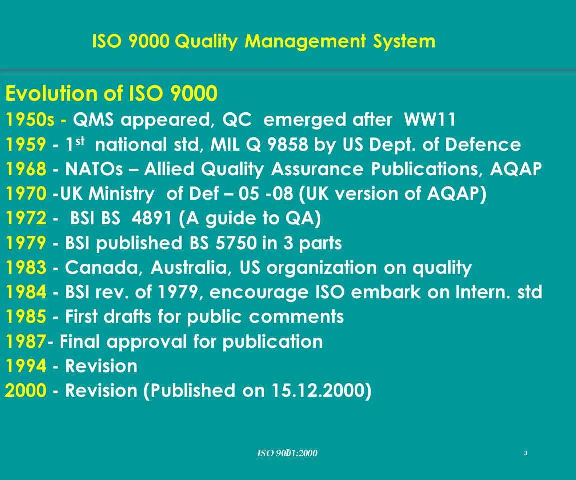 I 3 ISO 9000 Quality Management System ISO 9001:2000 3 Evolution of ISO 9000 1950s - QMS appeared, QC emerged after WW11 1959 - 1 st national std, MIL Q 9858 by US Dept.