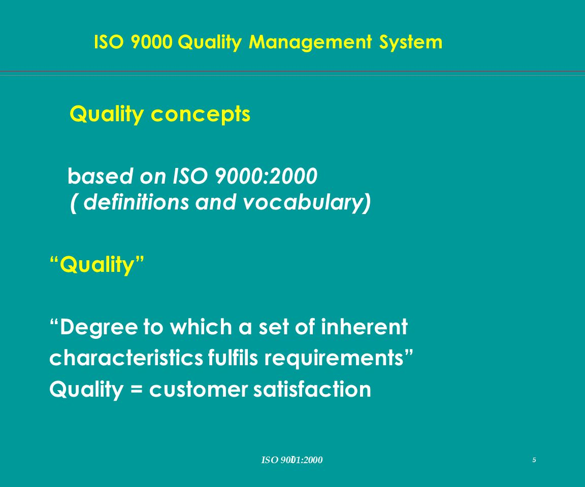 I 5 ISO 9000 Quality Management System ISO 9001:2000 5 Quality concepts b ased on ISO 9000:2000 ( definitions and vocabulary) Quality Degree to which a set of inherent characteristics fulfils requirements Quality = customer satisfaction
