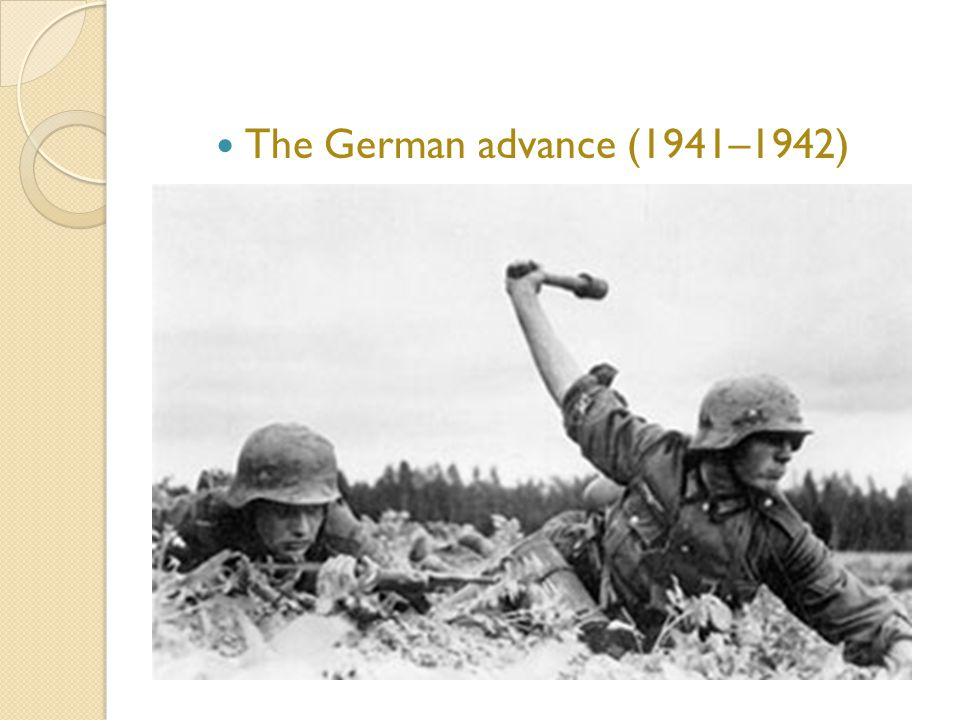The German advance (1941–1942) In June 1941, more than 3 million Axis troops crossed the Soviet border. by September 1941, German armies threatened th