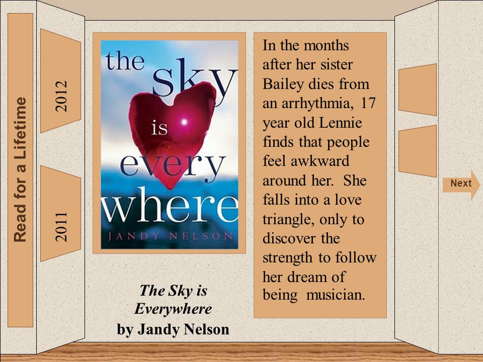 2012 Read for a Lifetime Next 2011 The Sky is Everywhere by Jandy Nelson In the months after her sister Bailey dies from an arrhythmia, 17 year old Lennie finds that people feel awkward around her.