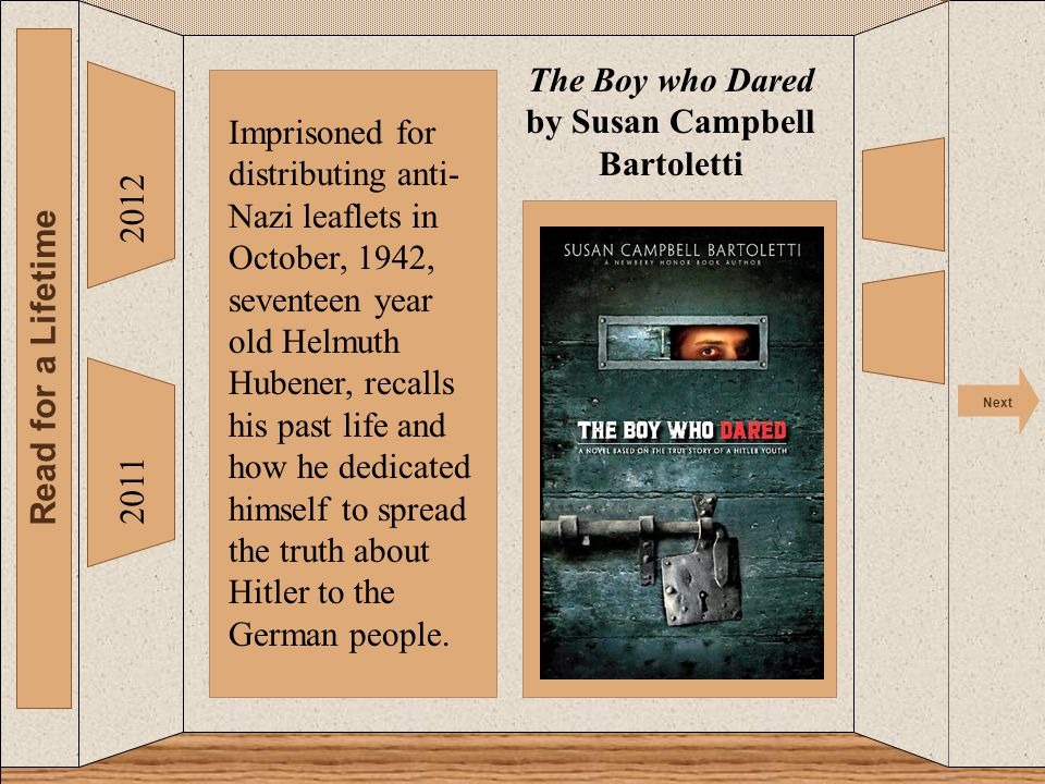 The 2012 Read for a Lifetime Next 2011 The Boy who Dared by Susan Campbell Bartoletti Imprisoned for distributing anti- Nazi leaflets in October, 1942, seventeen year old Helmuth Hubener, recalls his past life and how he dedicated himself to spread the truth about Hitler to the German people.