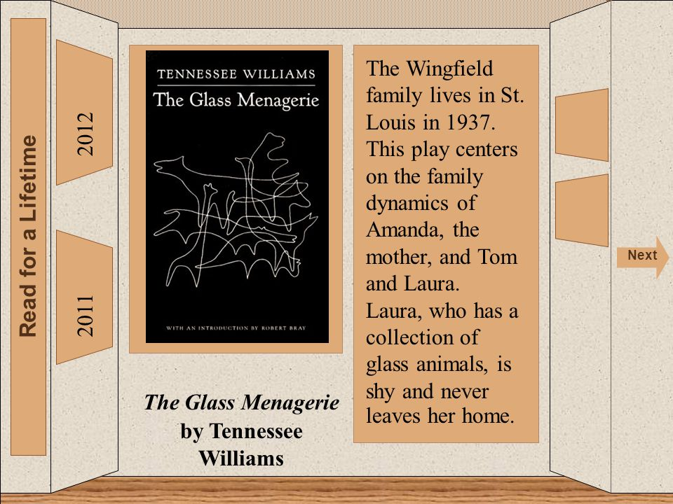 2012 Read for a Lifetime Next 2011 The Glass Menagerie by Tennessee Williams The Wingfield family lives in St. Louis in 1937. This play centers on the