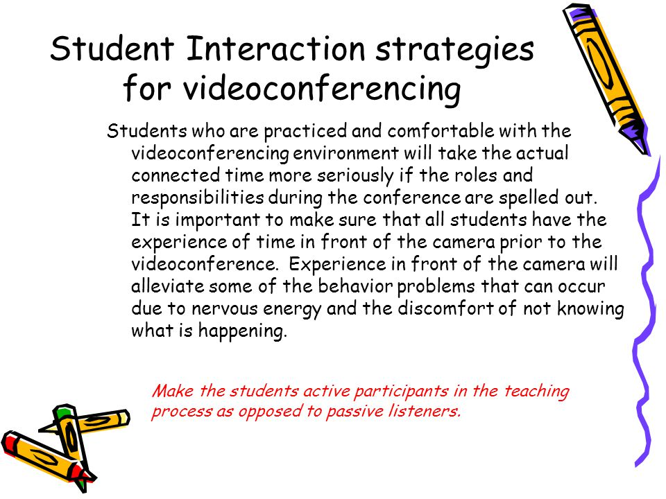Student Interaction strategies for videoconferencing Students who are practiced and comfortable with the videoconferencing environment will take the actual connected time more seriously if the roles and responsibilities during the conference are spelled out.