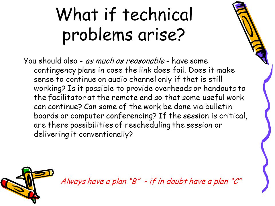 What if technical problems arise.