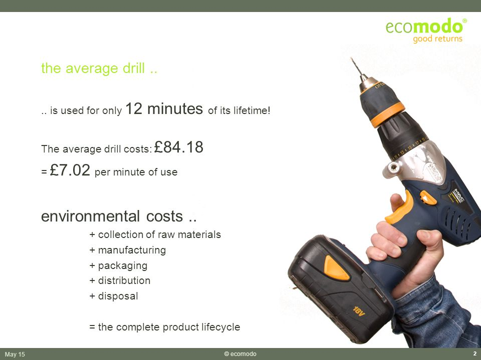 May 15 © ecomodo 2 the average drill.... is used for only 12 minutes of its lifetime.
