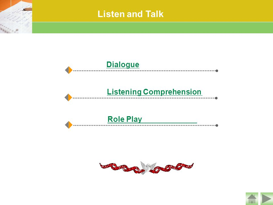 Listen and Talk Dialogue Listening Comprehension Role Play