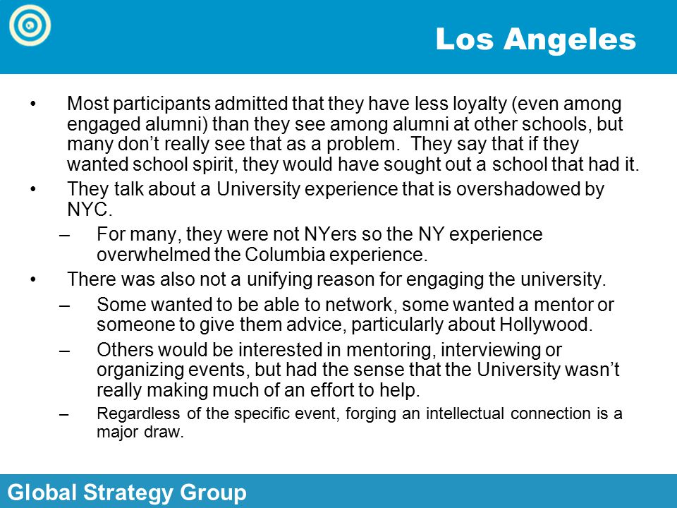 Global Strategy Group, Inc. Global Strategy Group Los Angeles Most participants admitted that they have less loyalty (even among engaged alumni) than