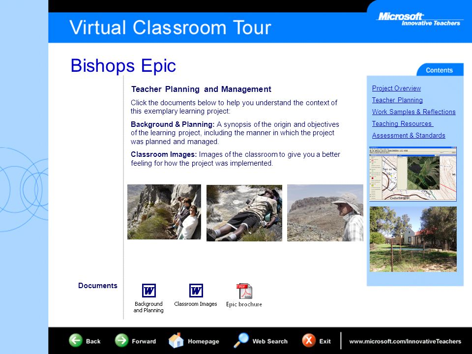 Bishops Epic Project Overview Teacher Planning Work Samples & Reflections Teaching Resources Assessment & Standards Teacher Planning and Management Click the documents below to help you understand the context of this exemplary learning project: Background & Planning: A synopsis of the origin and objectives of the learning project, including the manner in which the project was planned and managed.