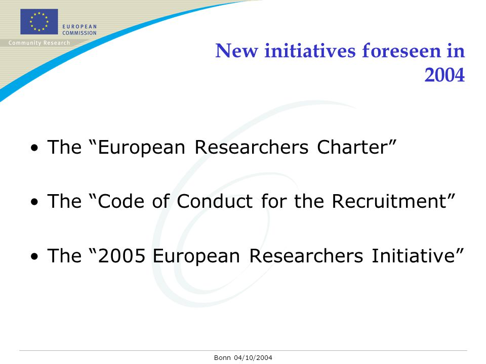 "Bonn 04/10/2004 New initiatives foreseen in 2004 The ""European Researchers Charter"" The ""Code of Conduct for the Recruitment"" The ""2005 European Resea"