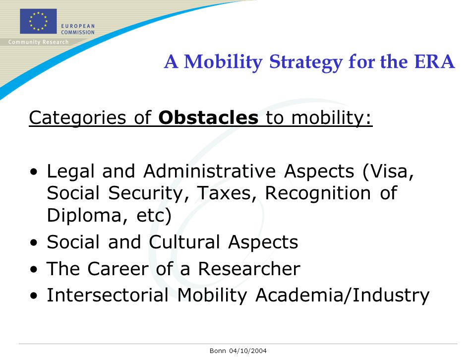 Bonn 04/10/2004 A Mobility Strategy for the ERA Categories of Obstacles to mobility: Legal and Administrative Aspects (Visa, Social Security, Taxes, Recognition of Diploma, etc) Social and Cultural Aspects The Career of a Researcher Intersectorial Mobility Academia/Industry