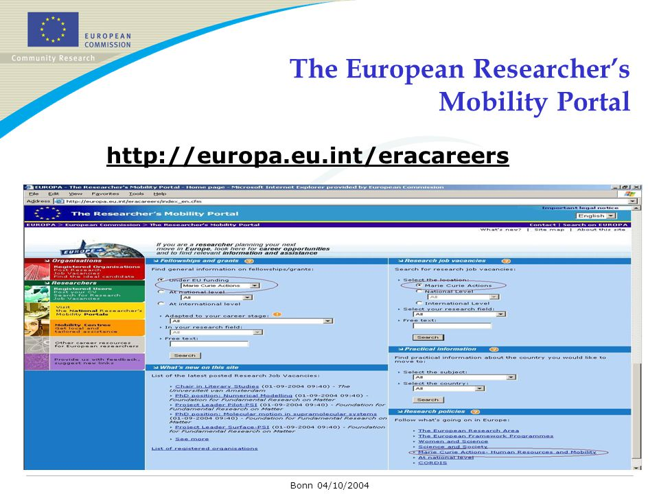 Bonn 04/10/2004 The European Researcher's Mobility Portal http://europa.eu.int/eracareers
