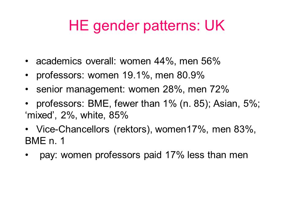 HE gender patterns: UK academics overall: women 44%, men 56% professors: women 19.1%, men 80.9% senior management: women 28%, men 72% professors: BME, fewer than 1% (n.