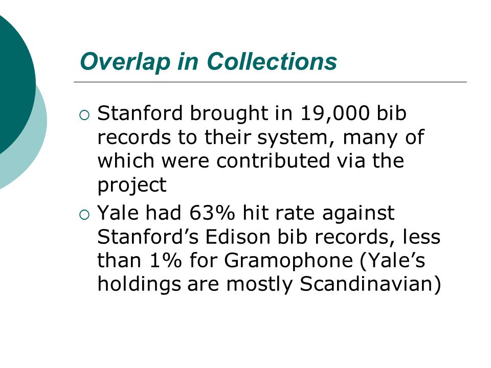 Overlap in Collections  Stanford brought in 19,000 bib records to their system, many of which were contributed via the project  Yale had 63% hit rat