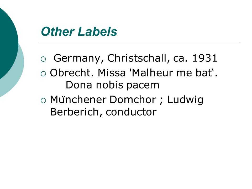 Other Labels  Germany, Christschall, ca. 1931  Obrecht.