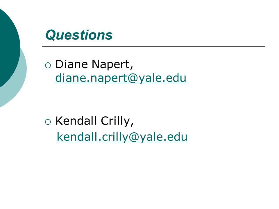 Questions  Diane Napert, diane.napert@yale.edu diane.napert@yale.edu  Kendall Crilly, kendall.crilly@yale.edu