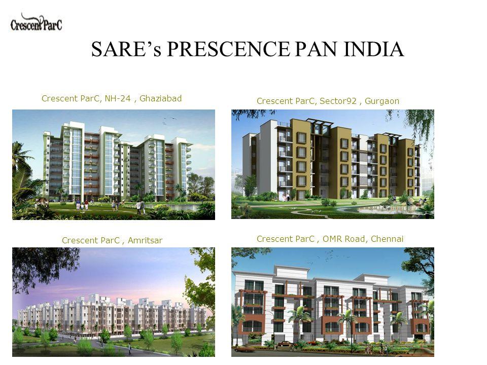 SARE's PRESCENCE PAN INDIA Crescent ParC, NH-24, Ghaziabad Crescent ParC, Sector92, Gurgaon Crescent ParC, Amritsar Crescent ParC, OMR Road, Chennai