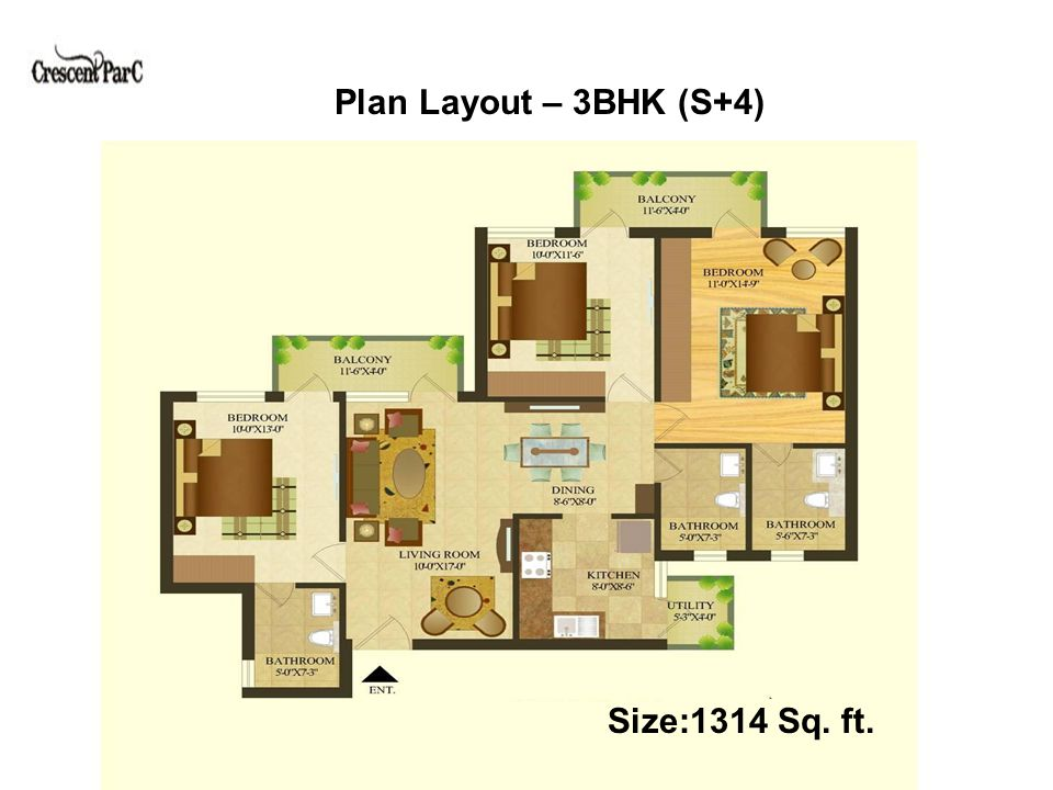 Plan Layout – 3BHK+3T+S (S+4) Size:1482 Sq. ft.