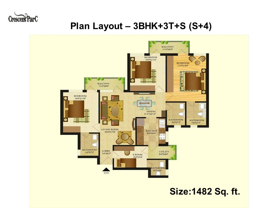 Plan Layout – 4BHK + 4T (S+4) Size:1620 Sq. ft.