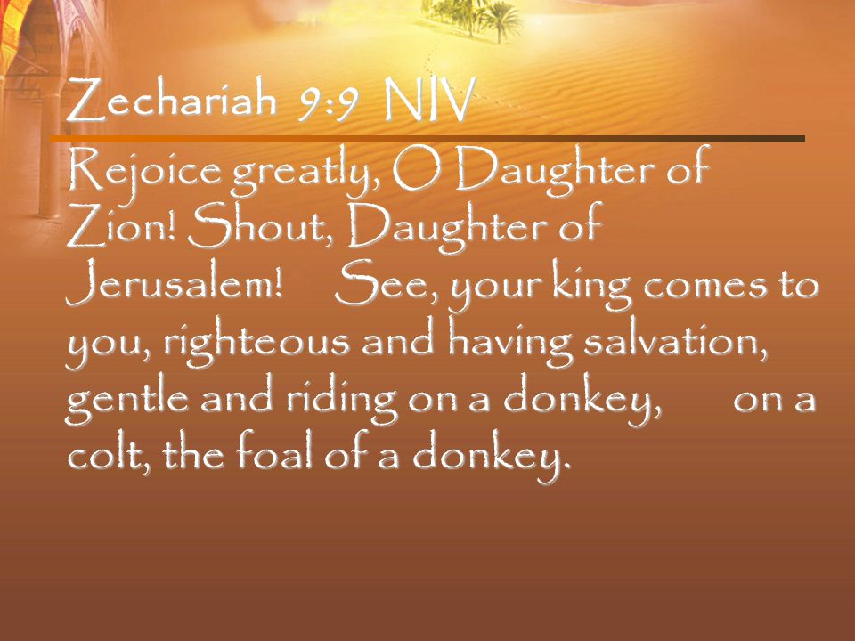 Zechariah 9:9 NIV Rejoice greatly, O Daughter of Zion.