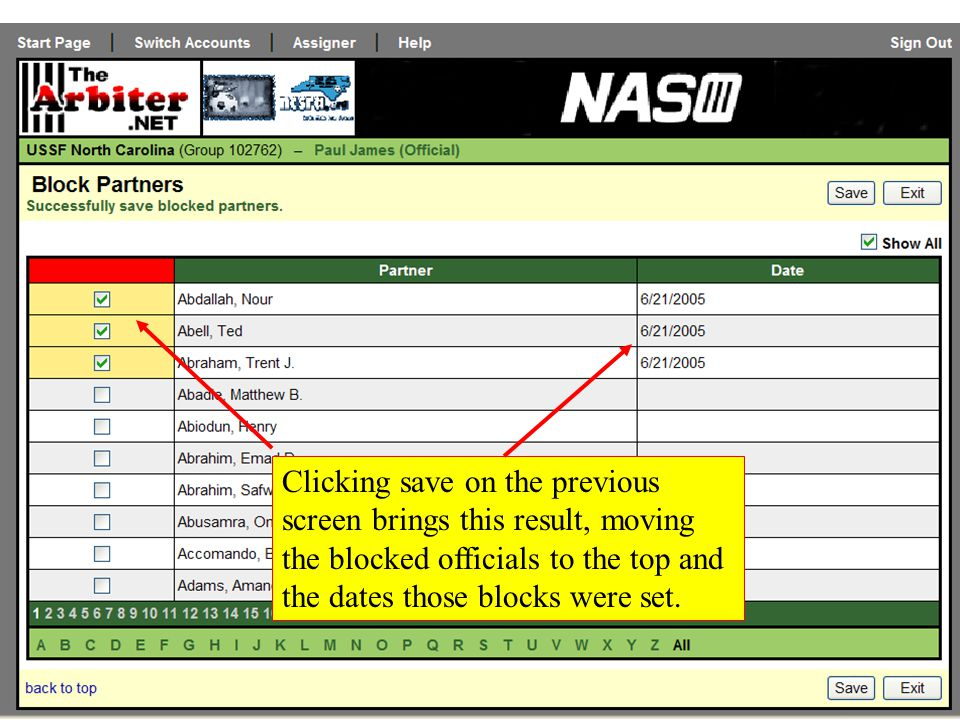 Clicking save on the previous screen brings this result, moving the blocked officials to the top and the dates those blocks were set.