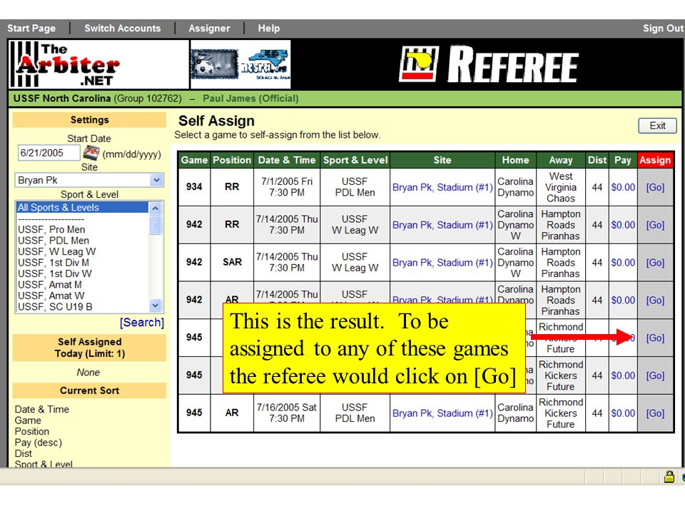 Blocking Sites To Block specific playing fields or complexes so you will not be assigned games at those sites Click on sites Click on Show All Check those sites to block and click save As shown in the next slide